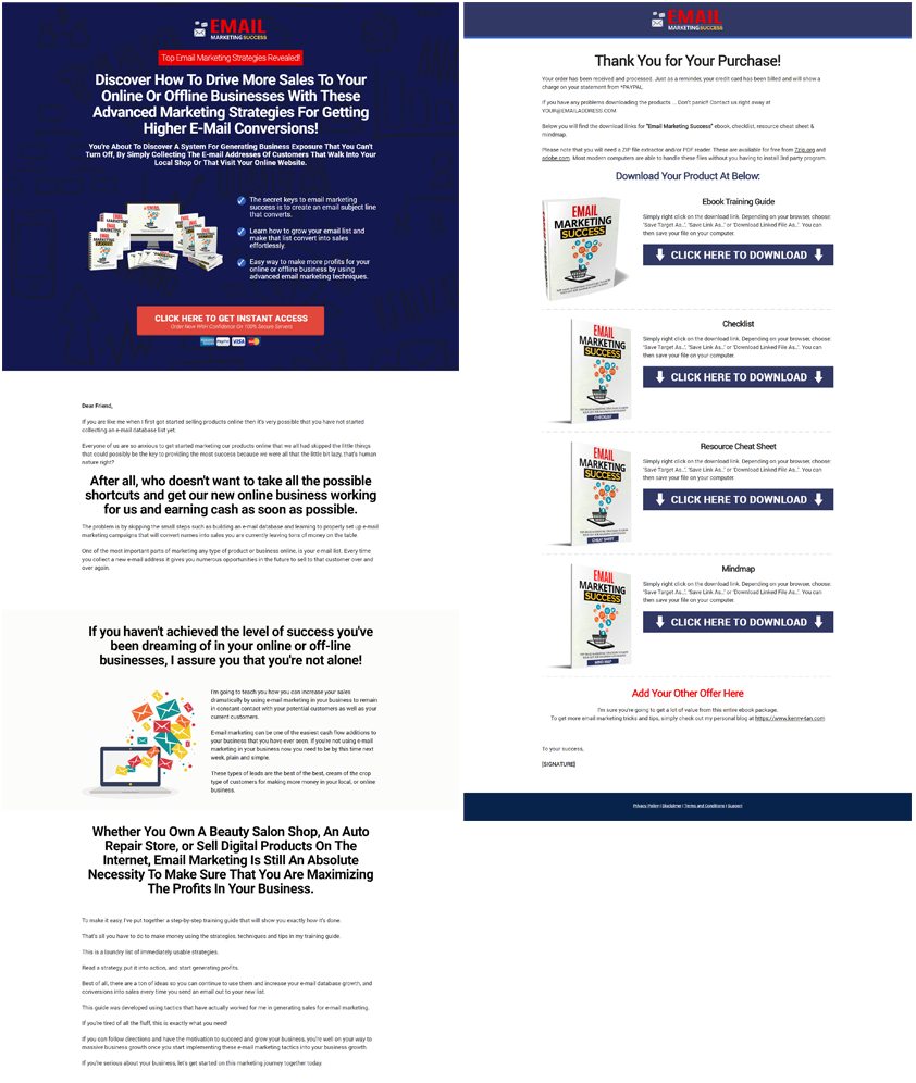 Email Marketing Success Minisite Sales Page Preview